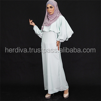 Velozina Jubah Dress Plus Size Islamic Abaya Dress Skirt Top Women Long Dress Baju Kurung Malaysia Pleated Crepe