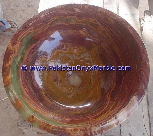 Multi Red Onyx Round Bowl sinks basins