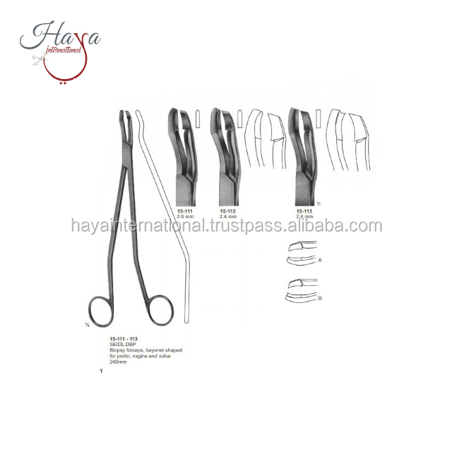 HI15-111-113 Best Factory Supply Seidl DBP Bayonet Shape Biopsy Forceps For Vagina, Portio And Vulva Surgical Instruments