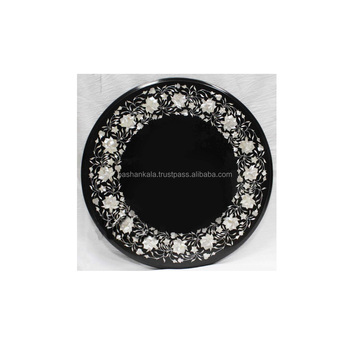 Black Marble Stone Inlaid Dining Room