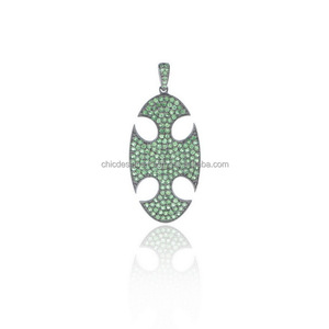 Green Gemstone Maltese Cross Pendant 925 Sterling Silver Jewelry Manufacturer
