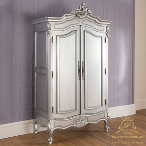 Royal European Designs Silver Wardrobe Home Set French Style Mahogany Wood Bedroom Furniture