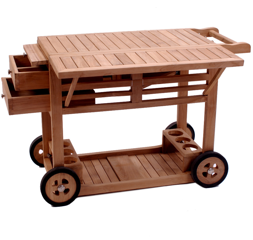 Exquisite wooden outdoor furniture trolley