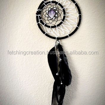 Black feather with white silk thread handmade Dream Catcher