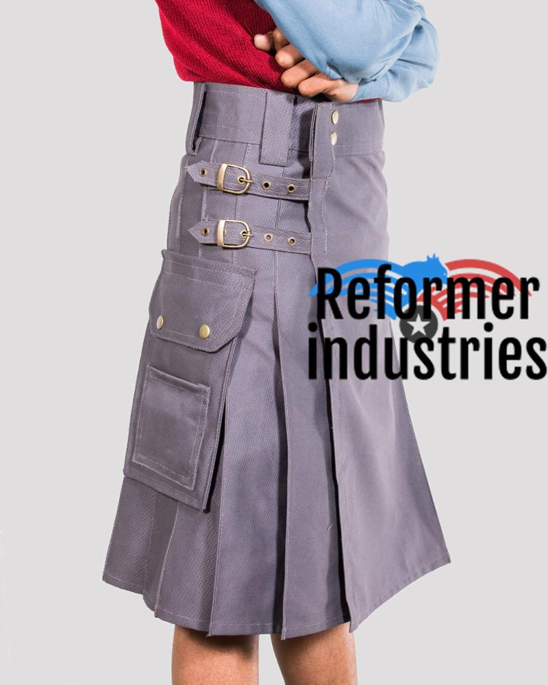 Casual work gray utility kilt at wholesale rate