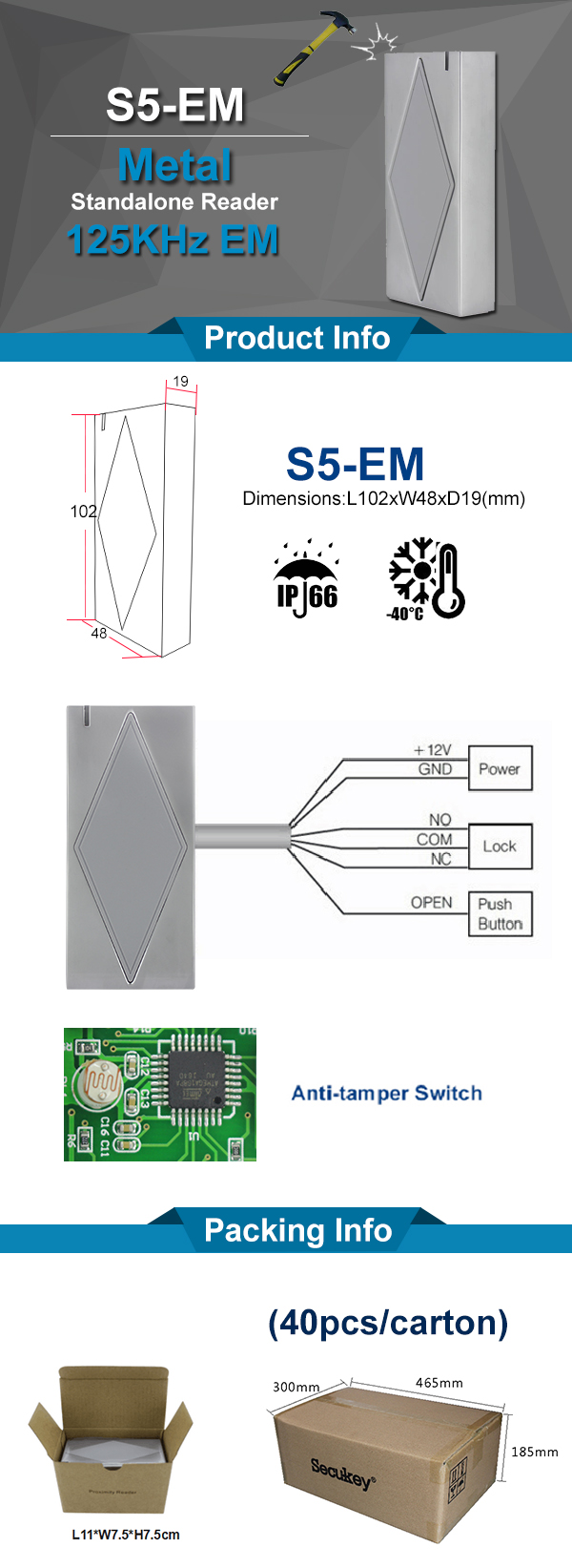 China Supplier Standalone 125KHz Smart RFID Card Reader For Door Access
