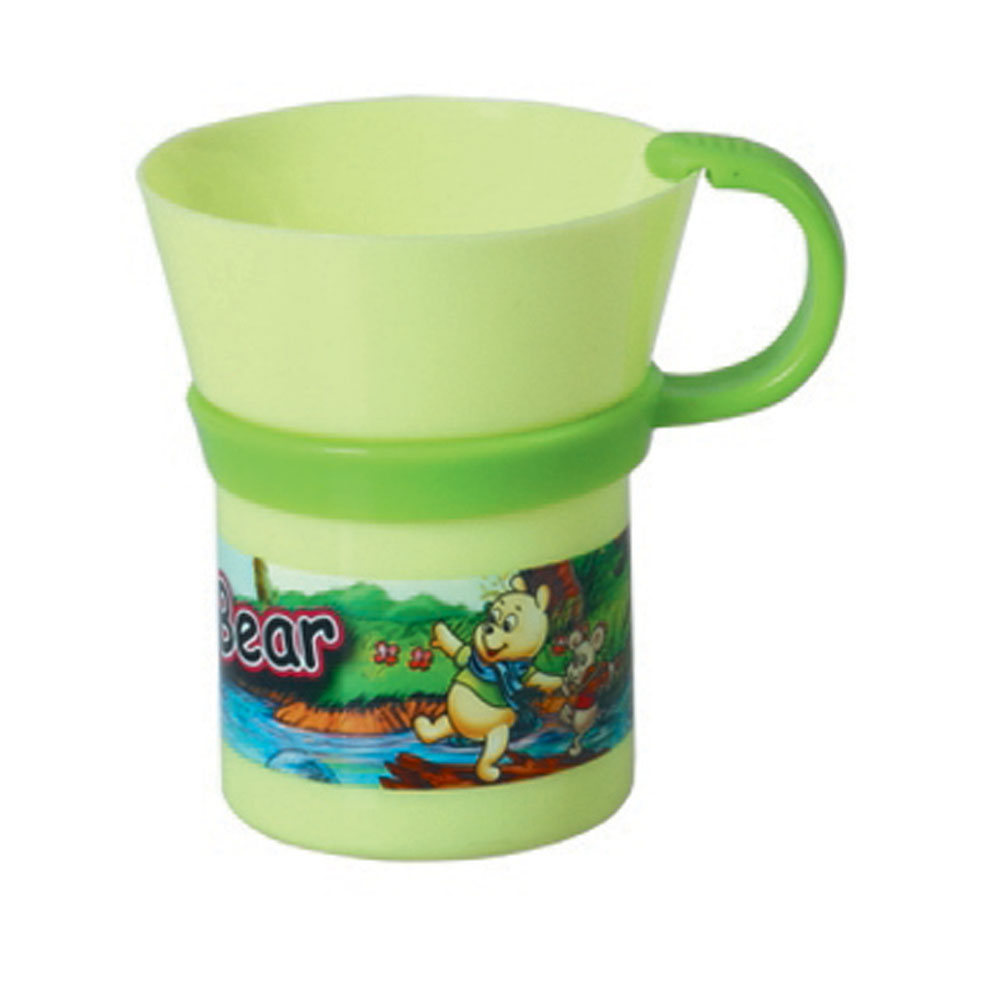 Plastic bottle for a drinking water suitable for childrens with cartoons image