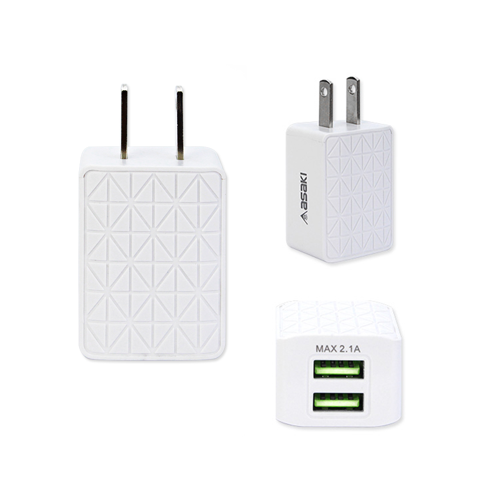 USB Charger 2 Dual Port Smart Wall Charger Travel for IOS & ANDROID