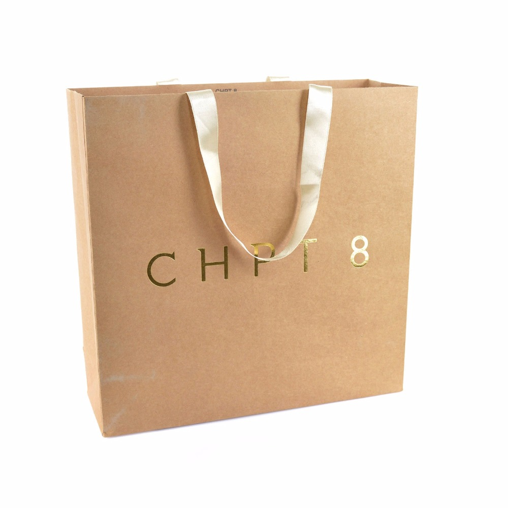 kraft paper bags with custom logo print emboss deboss custom rope handle