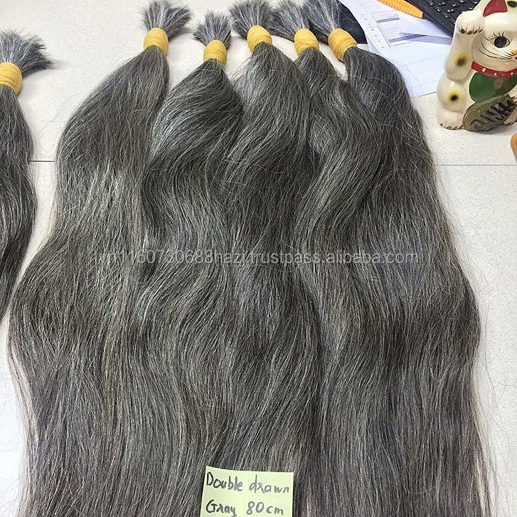 Natural Grey Raw Human Remy human Hair, VIRGIN GREY human hair extensions, cuticle aligned remy hair