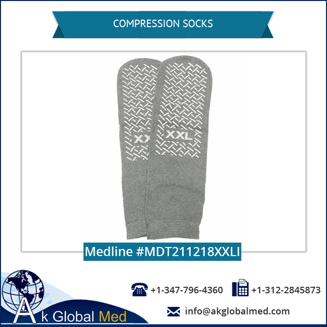 Medline MDT211218XXLI XX-Large Grey Safety Skids Slippers Compression Socks