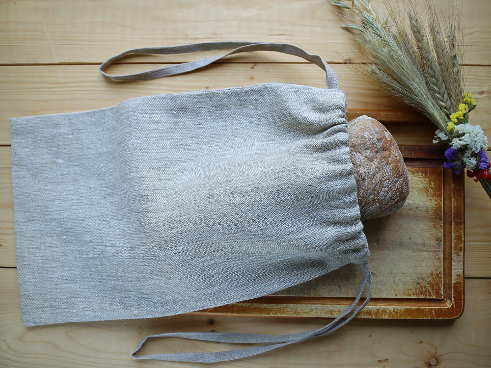 Grey natural linen ecological bread keeper drawstring bag