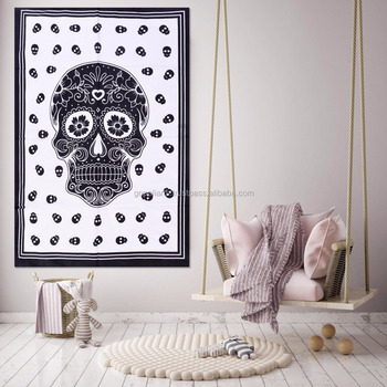 Indian Latest Tapestry Throw Cotton Yoga Mat Skull Mandala Design Meditation Wall Hanging