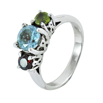 Multi gemstone ring 925 sterling silver handmade jewelry wholesale prices silver rings suppliers