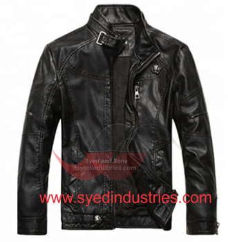 Leather Motorbike Jacket made with Reflective Piping