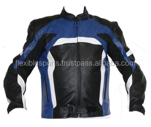 2017 NEW Men Black/Blue Motorcycle Motorbike Leather Jackets