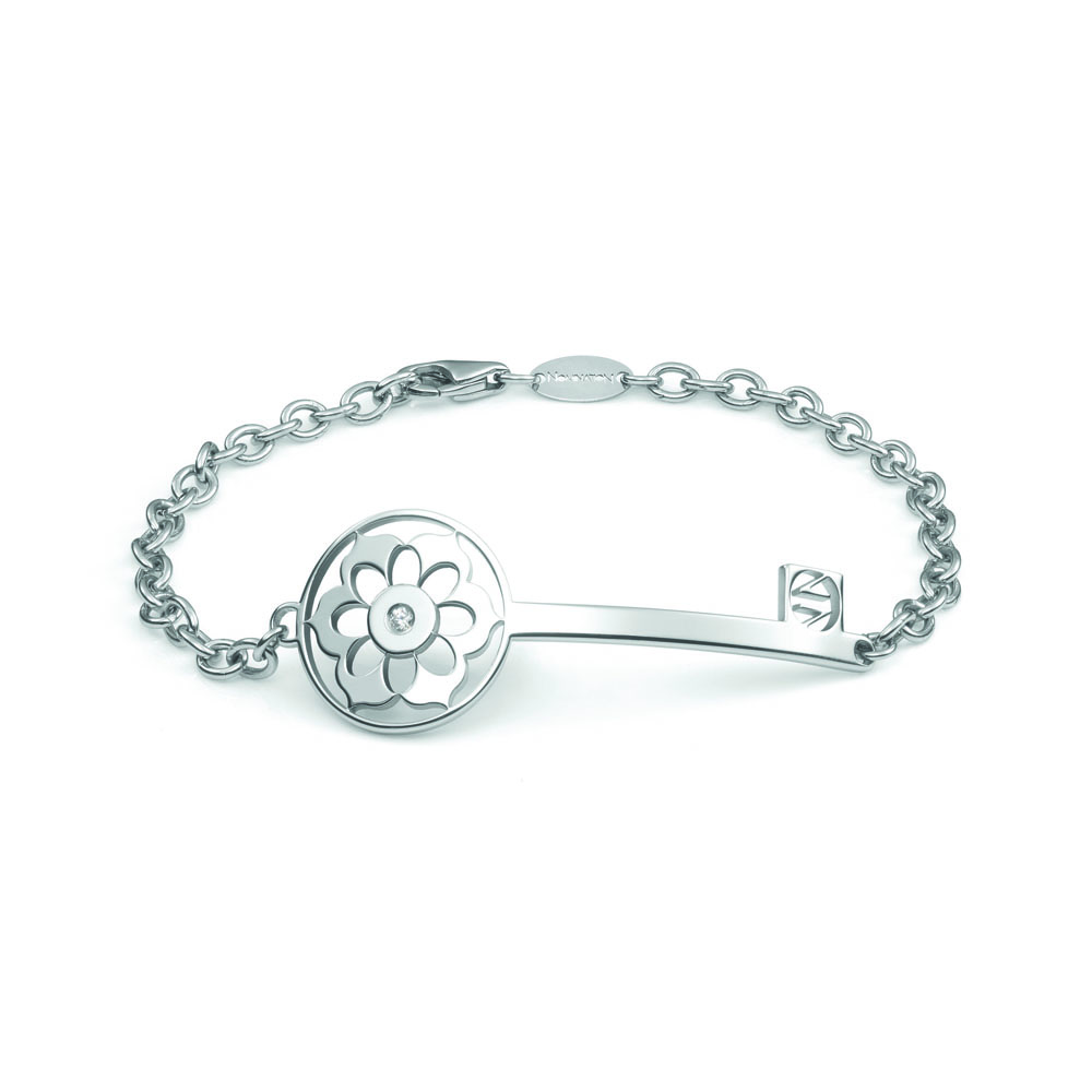 Nomination SECRETS Chain Bracelet in Stainless Steel and Zirconia with Key & Flower Decoration