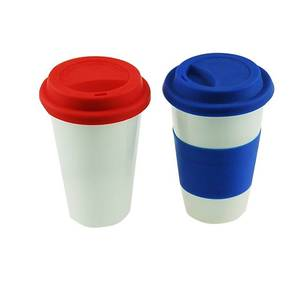 Ceramic Mug with Silicone grip holder, Ceramic Mug with Silicone Lid, Ceramic Coffee Mug