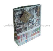 old news papers recycled to make these news paper bag available with custom logo printed tags suitable for clothing stores