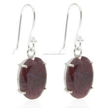925 sterling silver ruby corundum gemstone oval cut prong set earring