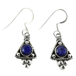 Wedding silver earring jewelry 925 sterling blue sapphire gemstone wholesale jewellery supplier india