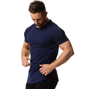Mens Cotton Spandex Muscle Fitted Gym Workout T Shirt