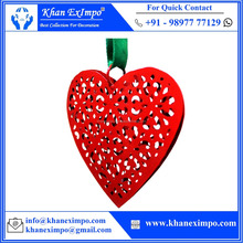 KEI-1191, Christmas Heart Etching Design Middle, Metal Craft Christmas Decoration Hanging Heart for Christmas Decoration