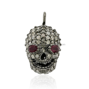 Natural Ruby Silver 925 Sterling Pave Diamond Designer Skull Pendant Jewelry