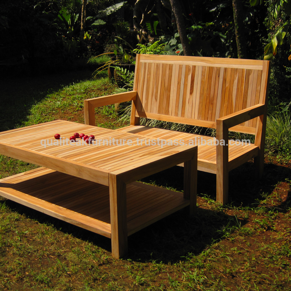Outdoor deep seat bench wih table solid teak wood by indonesia furniture manufacturer