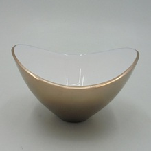 Aluminum Oval Shape Bowl With White Meena