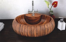 WOODEN FEEL CERAMIC BASIN BATHROOM SINK - BUBBLE 03