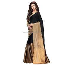 Indian Black & Golden Cotton Silk woven work saree