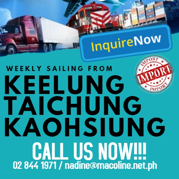 SEA FREIGHT TAIWAN TO PHILIPPINES FROM TAIWAN KEELUNG WITH DOOR TO DOOR SERVICE