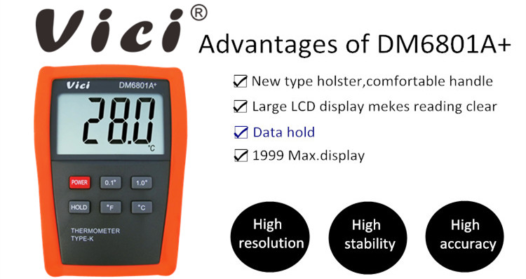 DM6801A+ 1999 Digits LCD Intelligent K Type Thermometer
