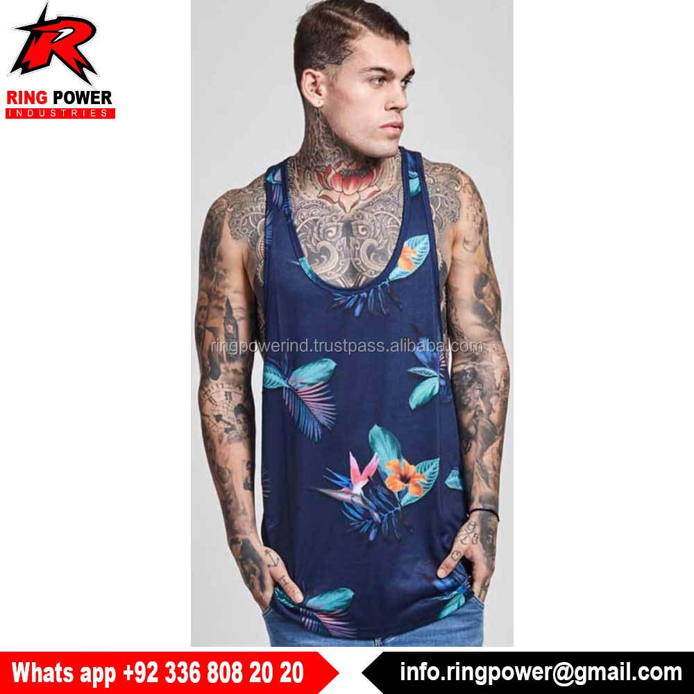 New Printing Longline Soft Fabric Men Gym Tank Top