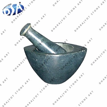Black Round Stone mortar and pestle