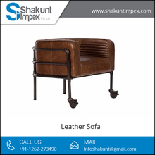Single Seat Industrial Furniture Leather Sofa for Comfortable Sitting