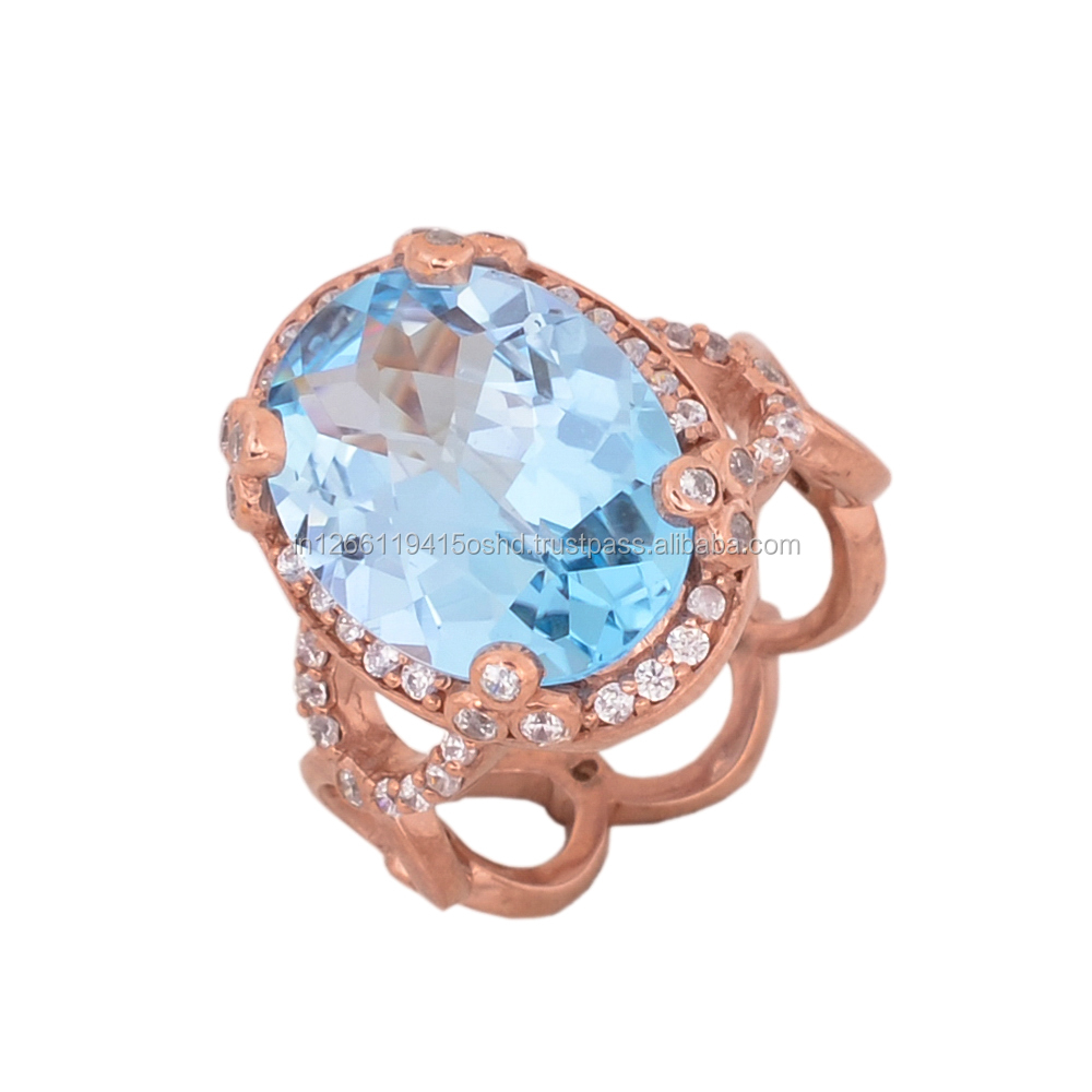 Gorgeous Swiss Blue Topaz !! 925 sterling silver ring