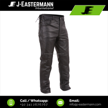 Mens Latest Design Black Fashion Leather Pant with Side Long Zipper & Waist Adjustable Laces Black Leather Jeans with Side Laces