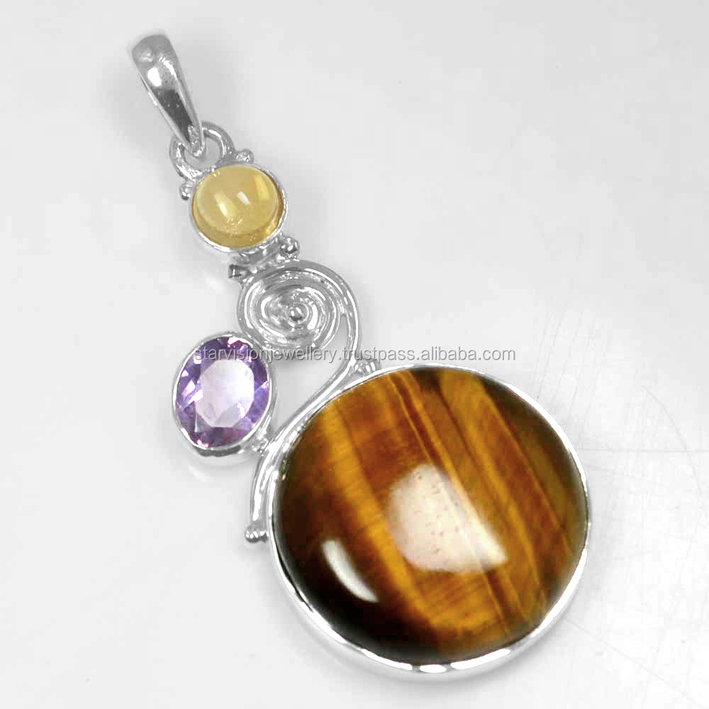 925 Sterling Silver Jewelry Tiger Eye Amethyst Citrine Sterling Silver Pendant