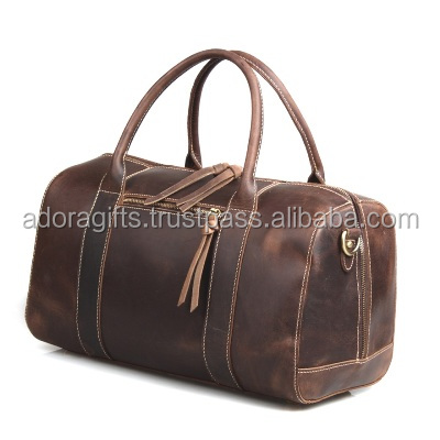 Updated new fashion mens genuine leather weekend duffle travel bag