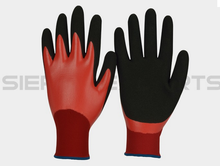 15G Nylon / Lycra Liner Red Nitrile Fully Dipped Smooth Finish Nitrile Palm Dipped Double Dipped Glove