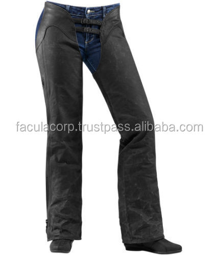 Women's Leather Textile Chaps Street Motorcycle Riding Pants FC-17352