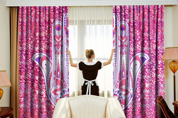 Indian Latest Hamsa Fatima Wall Drapery Curtain set Cotton Boho Drapes Window Decor Curtain Set