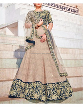 Grey color new indian bollywood designer embroidered bridal lehenga dress