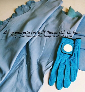 GENUINE FINISHED LEATHER SHEEP CABRETTA FOR GOLF GLOVE COLOR LT BLUE