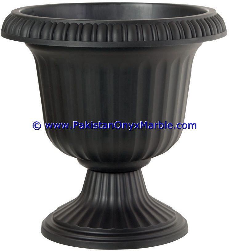 PAKISTAN MARBLE PLANTERS HANDCARVED DECORATED FLOWER VASE POTS INDOOR OUTDOOR GARDEN JET BLACK MARBLE