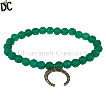 Horse Shoe Charm 925 Sterling Silver Bracelet Pave Diamond Green Onyx Gemstone Beads Jewelry Supplier