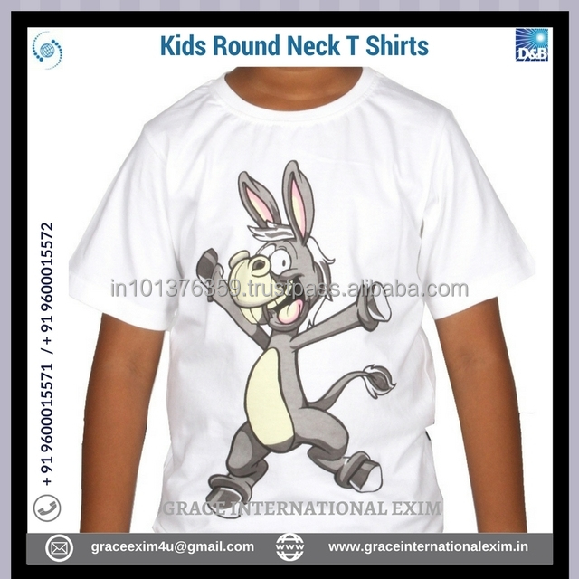Ash and White Color Print cartoon design Small Size Medium Size Round Neck T Shirts