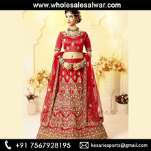 Red Satin Silk Wedding Wear Heavy Embroidery Work Lehenga Choli - Designer Wedding Satin Silk Lehenga Cholis Wholesale Collect